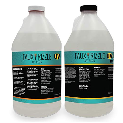 Faux Rizzle Art Resin UV - UV Resistant, Clear Resin to be Poured Over Art, Tumblers, etc. - Non-Toxic and Easy Application - 1 Gallon Total