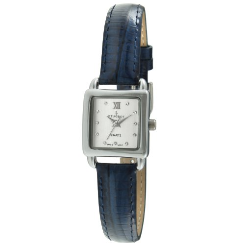 (Peugeot Women's Quartz Metal and Leather Dress Watch, Color:Blue (Model: 3034BL))