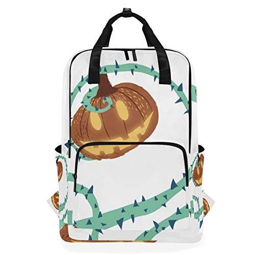 Halloween Pumpking With Thorn Vine Student Backpack Shoulder Bag Elementary School Bookbag For Boys Girls ()