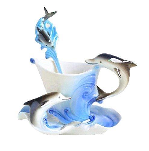 niceeshop(TM) Cute Dolphin Handmade Porcelain Tea Mug Coffee Cup Set with Spoon and Saucer (Blue)
