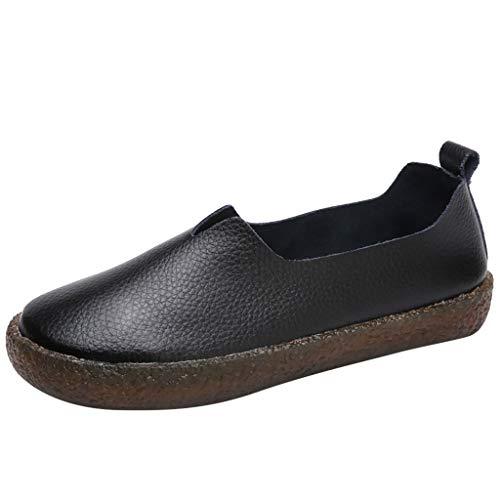 Shusuen Women's Platform Oxfords Shoe Soft Sole Moccasin Black