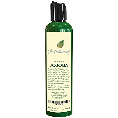 Jojoba Oil for Hair and Skin - 100 Percent Pure Cold Pressed Oil - No Fillers, Dyes or Artificial Ingredients of Any Kind - Made in the USA (1 bottle - 4 oz)