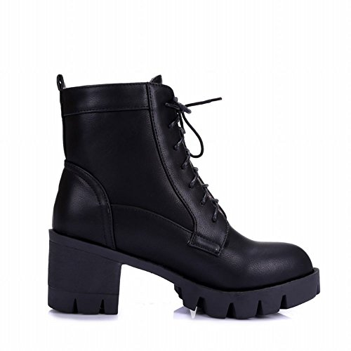 Carolbar Womens Lace up Simple Street Fashion Platform Chunky Mid Heel Short Boots Black p3NpZ