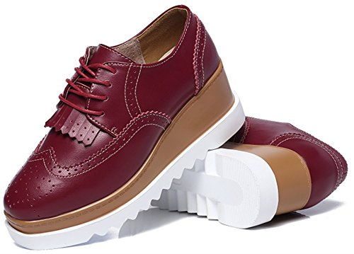 Femme Lace Rouge Chaussure Plate up Zhhuawy forme Oxford gdqwHg
