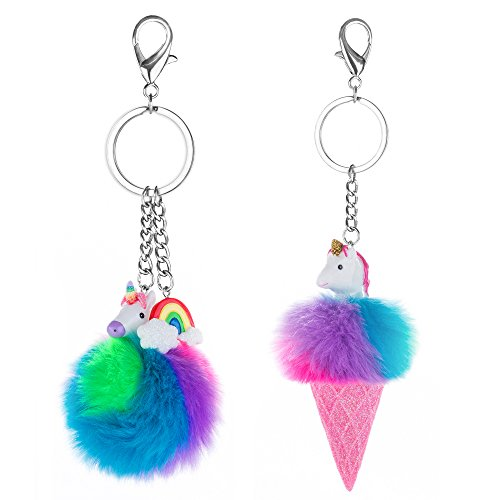 Skywisewin Colorful Faux Fur Ball Keychain, Rainbows Unicorns & Glitter Pom Pom Keychain Bag Charm (one pair)