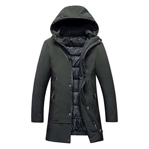 I'll NEVER BE HER Autumn Winter New Men Casua et Parka Fashion Solid Parkas Medium Thickening Hat Warm Coats,Beige,L -