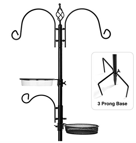 "Rhino Tuff Products Bird Feeder Stand: Deluxe Platform feeding station, with 3 prong base and Water Dish for Birds - Ideal Kit for Bird Watching, Garden, Patio, and Backyard Decor 91"" tall (Platform Hanging Feeder Small)"