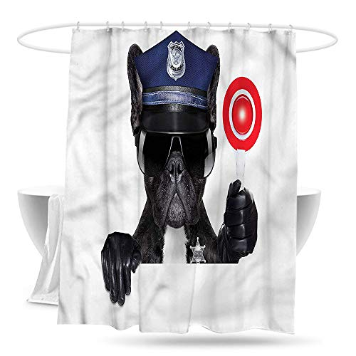 depinshangmao Custom Shower Curtain Police Pug Dog Police Costume Fashionable Pattern 59in×70in -