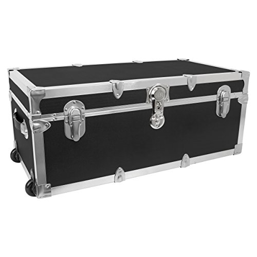 Seward Trunk Footlocker Trunk with Nickel Trim, Black, 30-Inch (SWD7130-10)