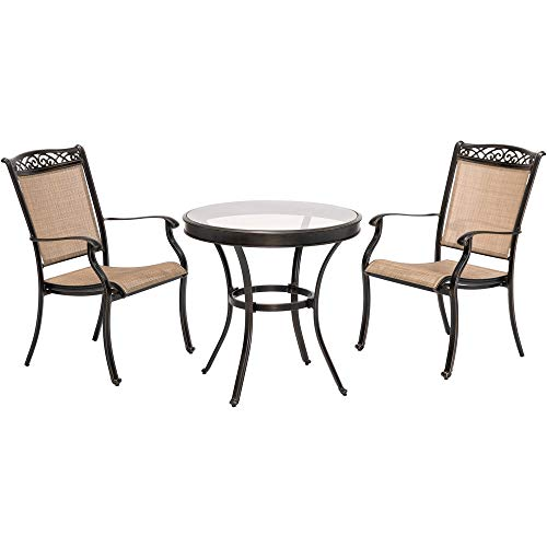 Envelor Hanover Fontana 3-Piece Outdoor Patio Bistro Set Garden Backyard Patio Furniture Conversation Bistro Set with Glass Top Dining Table and Sling Back Dining Chairs (Aluminium Cast Garden Sets Furniture)