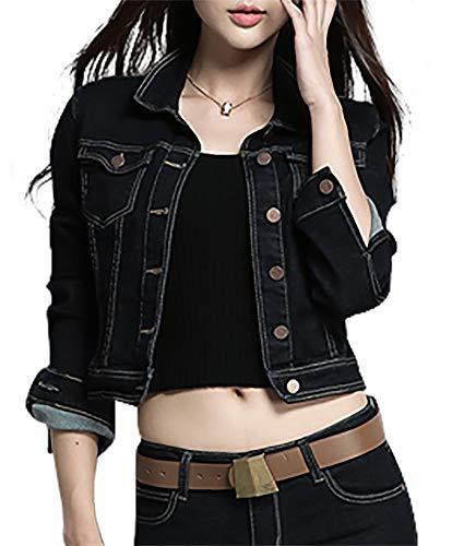SUSIELADY Women Casual Denim Jacket Jeans Tops Half Sleeve Trucker Coat Outerwear Girls Fashion Slim Outercoat Windbreaker (XS, Black)