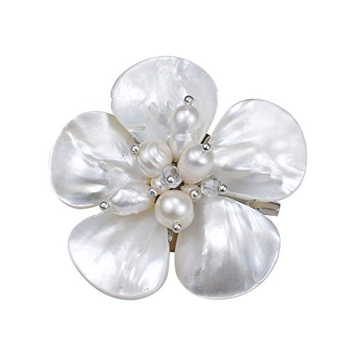 White MOP-Cultured FW Pearl-Fashion Crystals Floral Stainless Steel Pin-Brooch