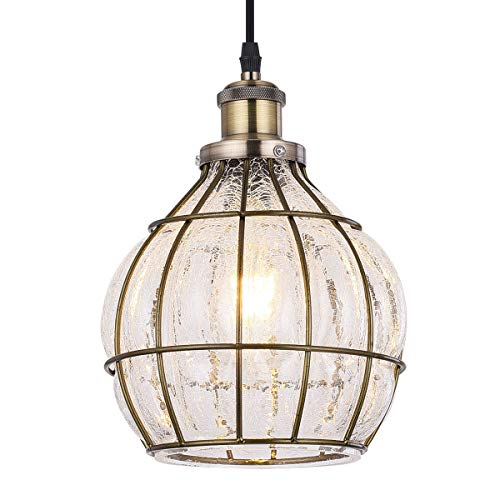 Tausende Hanging Glass Pendant Light Fixture, Industrial Vintage Ceiling Light Rustic Chandelier for Kitchen Island, Entryway, Dining Room, Living Room, Cracked Glass and Metal Bronze Oil Rubbed Cage