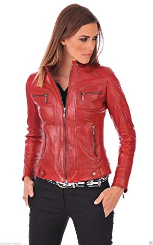 Genuine Ladies Leather Vest - Fab Leather Women's Red Genuine Lambskin Bomber Biker Leather Jacket (Red, Large)