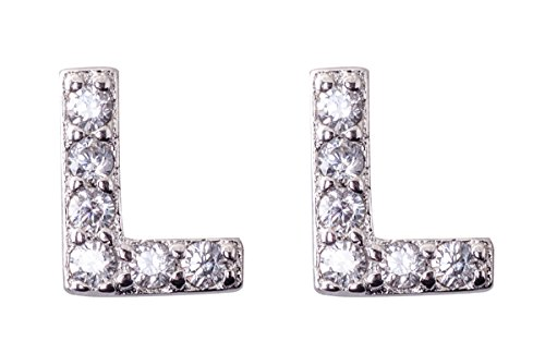 Jane Stone Fashion Pave Rhinestone Bling Initial Alphabet Letter Stud Earrings for Women(E0701-L)