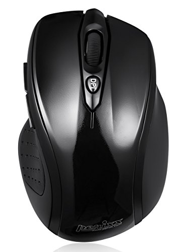 Perixx PERIMICE-711, Wireless Ergonomic Mouse - 2.4G - Up to 30 Ft Operating Range - Nano Receiver - Ergonomic Right Handed Design - 1000/1600 DPI Optical Resolution - On/Off Switch - Piano Finish Design - 2AAA Brand Batteries