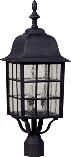 Black Finish Post Lantern (Craftmade Z575-05 Post Mount Light with Seeded Glass Shades, Black Finish)