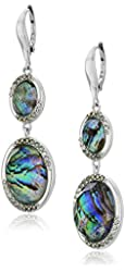 """Judith Jack """"Abalone Enchantment"""" Sterling Silver Abalone Marcasite Double Drop Earrings"""