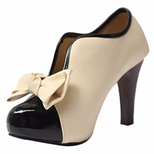QIYUN.Z Frauen Vintage-Stil Bowknot-Blockabsatz Aprikose Charme Mädchen Pumpen Schuh Aprikose