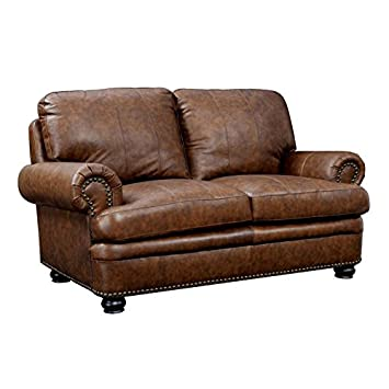 Outstanding Amazon Com Furniture Of America Carson Leather Loveseat In Machost Co Dining Chair Design Ideas Machostcouk