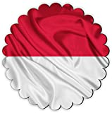 Rikki Knight Indonesia Flag Design Fancy Round Scallop Shaped Fridge Magnet