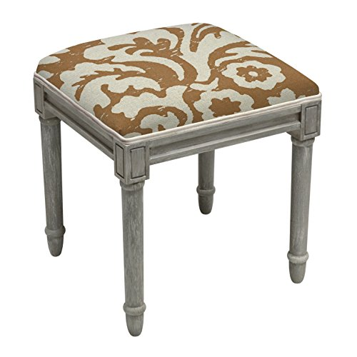 123 Creations Jacobean Multicolor Floral Linen and Vanity Stool with Rustic Grey Finish Wood Caramel (Caramel Finish Medium)