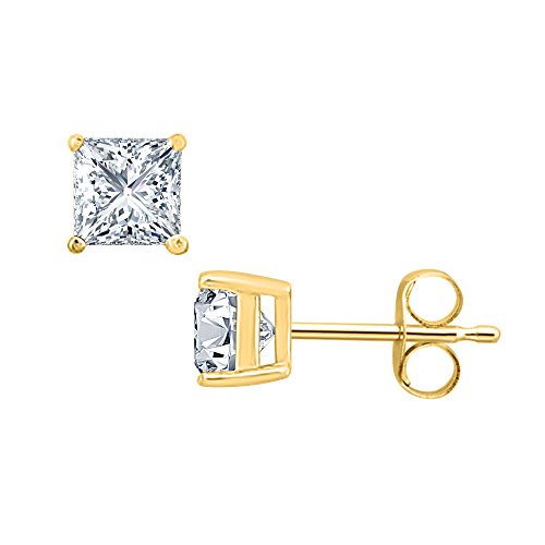 3.00 CT Princess Cut Diamond (6MM) Solitaire Stud Earrings 14K Yellow Gold Over .925 Sterling Silver