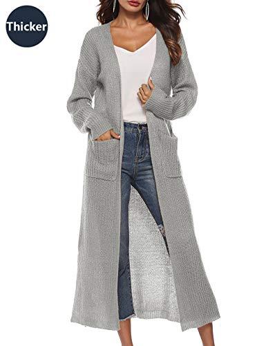 Womens Coat Long Open Front High Split Heavy Cardigan Sweater Batwing Open Coat Plus