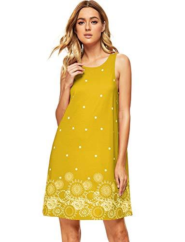 Romwe Women's Summer Sundress Floral Printed Sleeveless Casual A Line Dress Yellow XL ()
