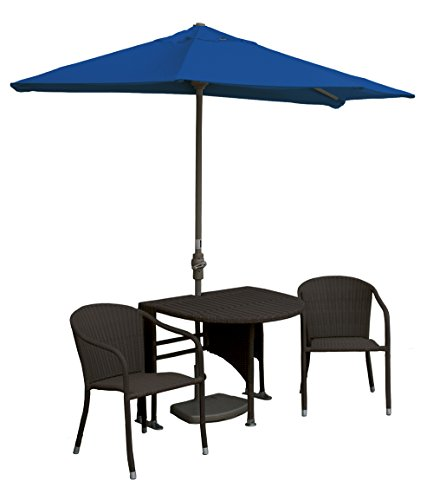Blue Star Group Terrace Mates Adena All-Weather Wicker Java Color Table Set w/ 7.5'-Wide OFF-THE-WALL BRELLA - Pacific Blue Sunbrella Canopy