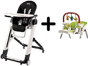 Gentil Peg Perego Siesta Highchair, Licorice + Peg Perego High Chair Play Bar
