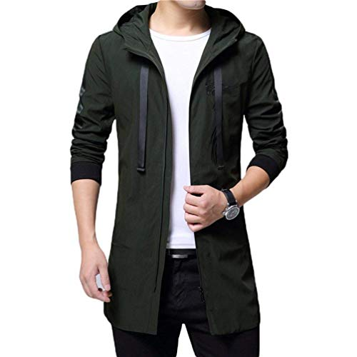 Autumn Hooded Coat Long Youth and Casual Hooded Jacket Fit Grün Tops Outwear Apparel Men's 2 Trench Overcoat Slim Coat Ptxpq