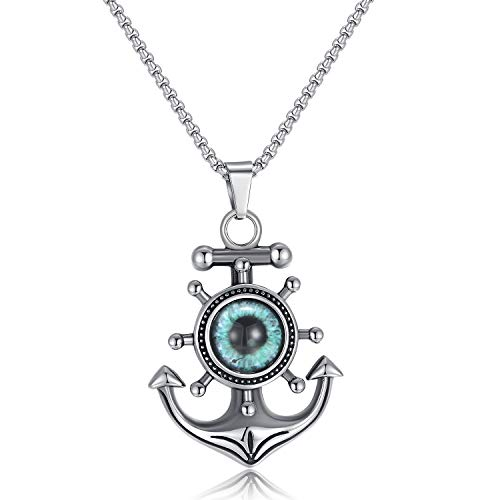 ELIO Mens Anchor Necklace Stainless Steel Vintage Religious Engraved Beautiful Pendant Chain 24 inch