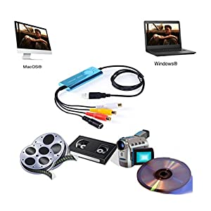 Top-Longer USB Video Capture Card,VHS to DVD, Digitise Video, Analog to Digital Recorder, RCA Composite, S-Video Win 10/MAC -Blue