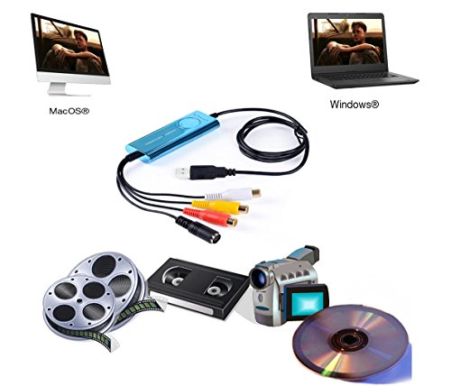 Top-Longer USB Video Capture Card,VHS to DVD, Digitise Video, Analog to Digital Recorder, RCA Composite, S-Video Win 10/MAC -Blue by Top-Longer (Image #2)