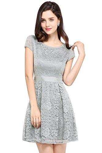 Babyonlinedress Vintage Floral Lace Silver Short Bridesmaid dress,Silver,4