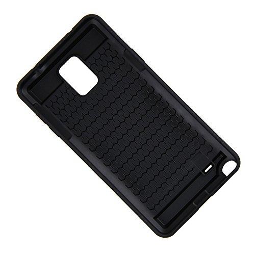 Telefon-Kasten - SODIAL(R)Karte Tasche Stossfeste Duenne Hybrid Mappe Abdeckung fuer Samsung Galaxy Note 4 Schwarz