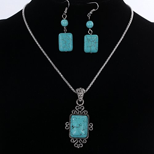 YAZILIND Vintage Tibetan Silver Elegant Carved Rectangle Turquoise Pendant Necklace Earrings Jewelry - http://coolthings.us