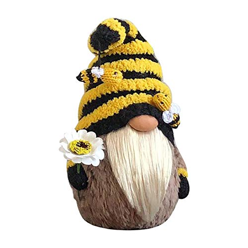 bestheart Home Decorations for World Bee Day, Handmade Dwarf Faceless Plush Dolls, Elves Dressed as Bees (A)