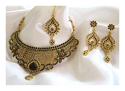 Jewel India Designer Traditional Bollywood Fashion 22k Gold Plated Ethnic Wedding Bridal Kundan Black Choker Necklace Jewelry ()
