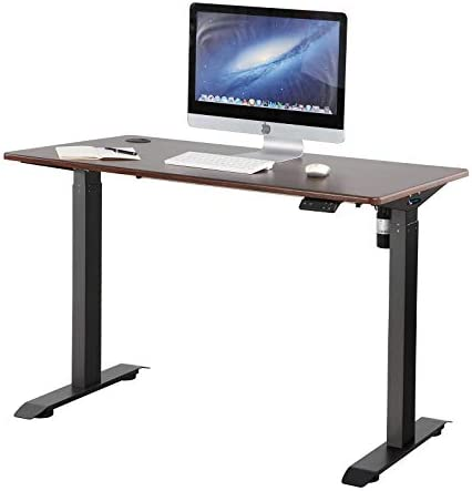 Editors' Choice: Lecowisd Electric Standing Desk Height Adjustable Lifting Frame 46.5×23.6 inch Brown Woodem Table Top,Black Frame