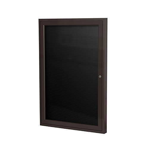 Ghent 36'' x 30'' 1 Door Enclosed Flannel Letter Board, Black Letter Panel, Bronze Aluminum Frame (PB13630B-BK) by Ghent