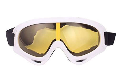 ALLMILL UV Protection Outdoor Sports Ski Glasses Windproof Snowmobile Bicycle Motorcycle Protective Glasses Ski Goggles-CS Army Tactical Goggles (White)