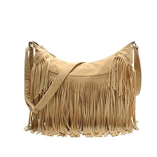 RARITY-US Women Crossbody Shoulder Bag Fringe Weave Hippie Suede Fringe Tassel Messenger Handbag (Suede Messenger)