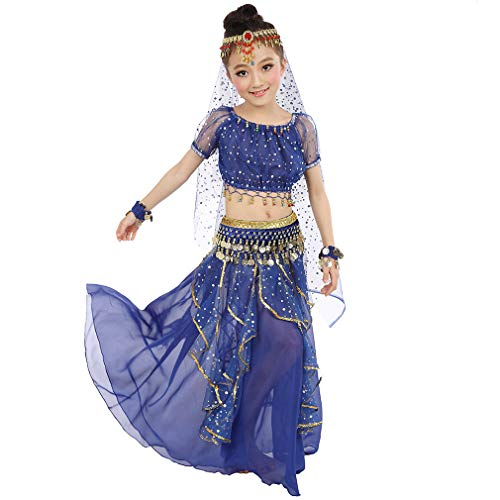 Girls Belly Dancing Costume Birthday Party Fancy Dress, Kids Cosplay Arabian Princess Dancewear Shiny Carnival Outfit (S, Dark-Blue)
