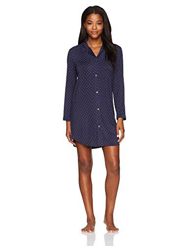 (Midnight by Carole Hochman Women's Printed Modal Jersey Sleepshirt, Indigo Sky Diamond Dots, XS)