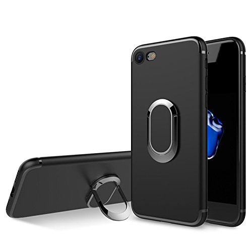 iPhone 7 Case, iPhone 8 Case,Winhoo 360° Adjustable Metal Ring Kickstand Holder Magnetic Shock-Absorption and Anti-Scratch Soft TPU Cover Case for iPhone 7 4.4