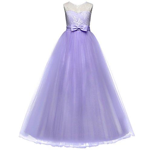 IBTOM CASTLE Little Girls Retro Formal Deep-V Back Sleeveless Lace Vintage Princess Long Dress Bridesmaid Evening Floor Length Dance Gowns Lavender 5-6 (Little Kids Lavender Apparel)