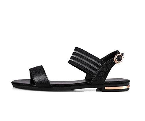 Flats AllhqFashion Buckle Toe Soft Open Material Black Sandals No Heel Solid Womens 6xBRr6