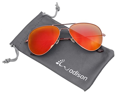 WODISON Mirrored Aviator Sunglasses Vintage Metal Sunglass for Men/Women - Red Aviators Mirrored